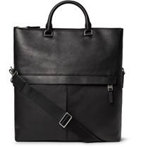 Michael Kors Fold Over Full Grain Leather Tote Bag Black