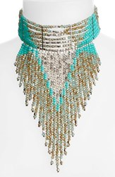 Cristabelle Women's Beaded Statement Choker Turquoise Bronze Silver