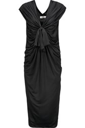 Valentino Draped Silk Jersey Midi Dress Black