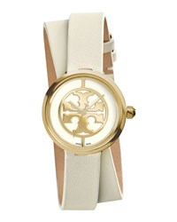 Reva Double Wrap Leather Watch White Golden Tory Burch Watches