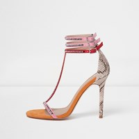 River Island Womens Pink T Bar Snake Embossed Stiletto Sandals