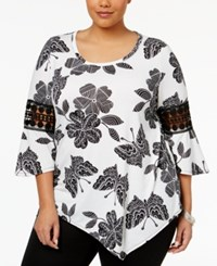 Ny Collection Plus Size Printed Lace Trim Top Jet Print