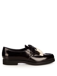 Tod's Gomma Fringed Lace Up Shoes Black White