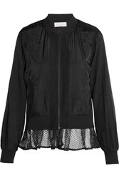 Clu Mesh Trimmed Satin Bomber Jacket Black
