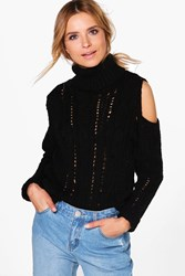 Boohoo Roll Neck Open Shoulder Cable Jumper Black