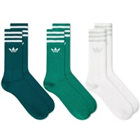 Adidas Solid Crew Sock 3 Pack Green