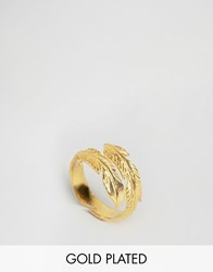 Ottoman Hands Feather Ring Gold