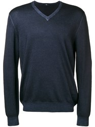Fay V Neck Jumper Blue