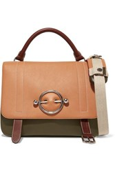 J.W.Anderson Jw Anderson Disc Color Block Leather And Suede Shoulder Bag Tan