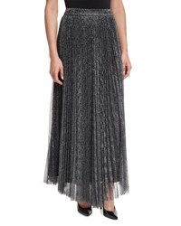 Alice Olivia Katz Metallic Pleated Maxi Skirt Dark Silver