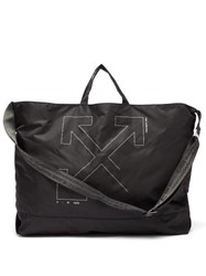 Off White Unfinished Industrial Strap Tote Black