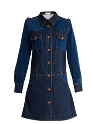 See By Chloe Velvet Panel Long Sleeved Denim Dress Indigo