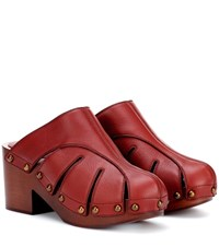 Chloe Leather Mules Red