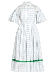 Vika Gazinskaya Checked Cotton Poplin Dress White Multi
