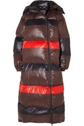 Ganni 66 North Askja Hooded Striped Quilted Glossed Shell Down Coat Black