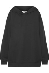 Acne Studios Yala Oversized Embroidered Cotton Jersey Hooded Top Black