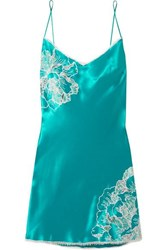 Carine Gilson Chantilly Lace Trimmed Silk Satin Chemise Emerald