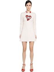 Valentino Beaded Collar And Heart On Crepe Dress White