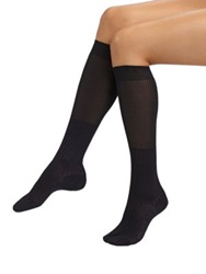 Maria La Rosa Ribbed Knee Socks Navy Black