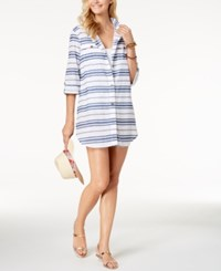 Dotti Havana Cotton Striped Shirtdress Cover Up Women's Swimsuit Denim Blue