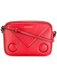 Emporio Armani Logo Print Shoulder Bag Red