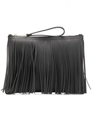 Gum Fringed Clutch Bag Black
