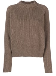 The Row Cashmere Ribbed Design Jumper Brown