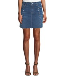 7 For All Mankind Frayed Denim Mini Skirt With Eyelets Blue