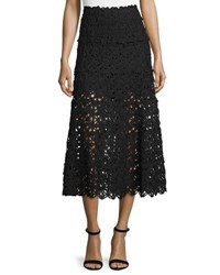Donna Karan Ribbon Lace Midi Skirt Black