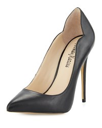 Neiman Marcus Kala Notched Leather Pump Black
