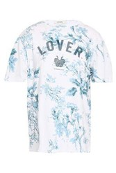 Lover Woman Printed Cotton Jersey T Shirt White