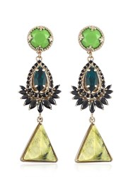 Iosselliani Anubian Brass Agate And Crystal Earrings