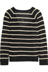 Brunello Cucinelli Sequin Embellished Striped Open Knit Linen And Silk Blend Sweater Black