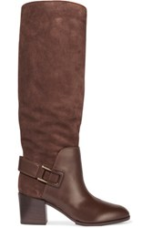 Sergio Rossi Biker Leather Paneled Suede Knee Boots Chocolate