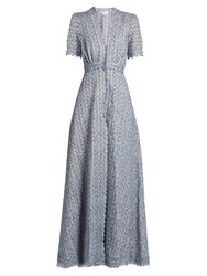 Luisa Beccaria Floral Embroidered Cotton Blend Dress Blue Print