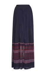 Oscar De La Renta Striped Maxi Skirt Navy