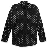Balenciaga Button Down Collar Logo Jacquard Cotton Poplin Shirt Black
