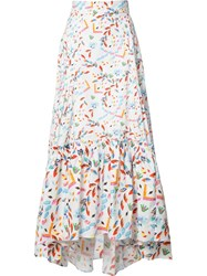 Peter Pilotto Abstract Printed Maxi Skirt White