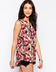 Only Sleeveless Shirt In Floral Print Multi