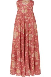18195040c82 Zimmermann Veneto Strapless Printed Linen Midi Dress Red