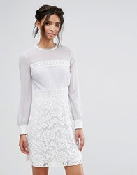 Elise Ryan Long Sleeve Mini Dress With Corded Lace Skirt Grey White Multi