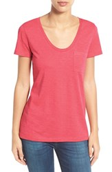 Women's Caslon Relaxed Slub Knit U Neck Tee Red Chateaux