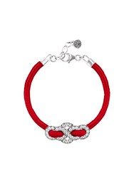 Shanghai Tang Silver Crystal Eternity Knot Bracelet Red