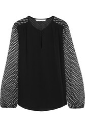 Diane Von Furstenberg Nikki Polka Dot Chiffon And Silk Blouse Black