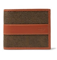 Mulberry Leather Trimmed Pebble Grain Coated Canvas Billfold Wallet Army Green