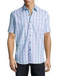 Robert Graham Mini Stripe Short Sleeve Woven Shirt Blue
