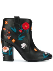 Laurence Dacade Floral Embroidered Ankle Boots Black
