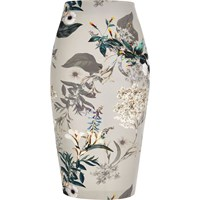 River Island Womens Grey Floral Print Pencil Skirt