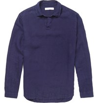 Orlebar Brown Ridley Open Collar Linen Hirt Navy