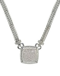 Lord And Taylor Sterling Silver Square Pendant Necklace